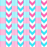 Chevron pattern seamless vector arrows and stripes design light blue hot pink vibrant colors Royalty Free Stock Photo