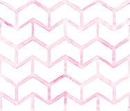 Chevron with pink outline on white background. Watercolor seamless pattern for fabric Stock Photo