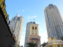 Chevron Renaissance Towers, Surfers Paradise. The old-fashioned entrance tower between the three modern high-rise buildings of The Chevron Renaissance towers (in Royalty Free Stock Photos