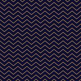 Chevron seamless pattern background gold thin stripes on blue. Classic retro style stock illustration