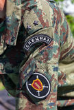 Chevron on the sleeve uniforms officer of the russian special fo Stock Photo