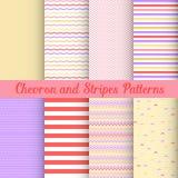 Chevron and Stripes patterns set Stock Photos