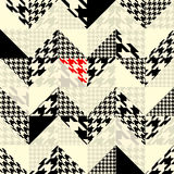 Chevron of triangles patchwork with classic. Seamless background pattern. Chevron of triangles patchwork with classic houndstooth patterns Stock Photography