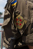 Chevron of Ukrainian National Guard on the soldier's sleeve Royalty Free Stock Photo