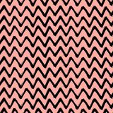 Chevron Zigzag Paint Brush Strokes Seamless pattern. Vector Abstract Grunge black and pink background Royalty Free Stock Images