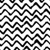 Chevron Zigzag Paint Brush Strokes Seamless pattern. Vector Abstract Grunge black and white zigzag background Royalty Free Stock Images