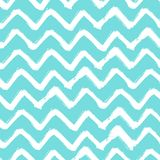 Chevron Zigzag Paint Brush Strokes Seamless pattern. Vector Abstract Grunge blue and white zigzag background Stock Images
