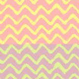 Chevron Zigzag Paint Brush Strokes Seamless pattern. Vector Abstract Grunge pink and yellow background Stock Photo