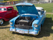 1955 Chevy Bel Air blu e bianco Fotografia Stock Libera da Diritti