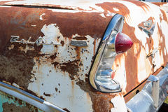 1956 Chevy Bel Air. CONCORD, NC — September 24, 2016:  Closeup of an unrestored 1956 Chevy automobile on display at the Pennzoil AutoFair classic car show held Royalty Free Stock Photos