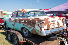 1956 Chevy Bel Air. CONCORD, NC — September 24, 2016:  An unrestored 1956 Chevy Bel Air automobile for sale at the Pennzoil AutoFair classic car show held at Royalty Free Stock Images