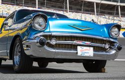 1957 Chevy Bel Air. CONCORD, NC - April 5, 2018:  Front closeup of a 1957 Chevy Bel Air automobile on display at the Pennzoil AutoFair Classic Car Show at Stock Photography