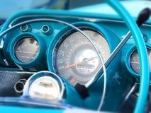 1957 Chevy Blue-binnenland Royalty-vrije Stock Afbeeldingen