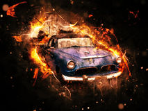 Chevy classic car. Vintage old car in fire effect, chevy Stock Images