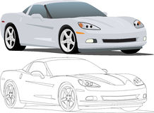 Chevy Corvette. A silver Corvette Sports Car eps saved in layers for easy editing. Line drawing included too. See my portfolio for more automotive images stock illustration