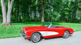 1959 Chevy Corvette. GROSSE POINTE SHORES, MI/USA - JUNE 17, 2015: A 1959 Chevrolet Corvette car at the EyesOn Design car show, held at the Edsel and Eleanor Stock Images