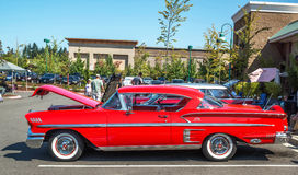 1957 Chevy Impala. A 1957 restored and customized Chevy Impala at a August, 2014 classic car show in Washington, State Royalty Free Stock Photos