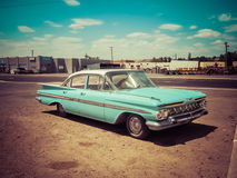 Chevy Impala Vintage. Vintage Teal blue Chevy impala located at Wigwam Motel in Holbrook, Arizona stock photo
