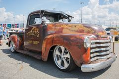 1949 Chevy 3100 Pickup. CONCORD, NC USA - September 7, 2018: A modified 1949 Chevy 3100 pickup truck on display at the Pennzoil AutoFair Classic Car Show at royalty free stock photography