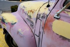 Chevy pink truck 50s memorabilia Royalty Free Stock Image