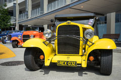 1932 Chevy Sedan. A customised early 1900 Chevrolet sedan painted yellow on display during the 2015 hotrod car show in Robina in Queensland Australia Stock Photography