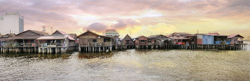 Chew Jetty Heritage Site in Penang. Malaysia at Sunrise Panorama Stock Images