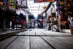 The Chew Jetty. Low angle view of the Chew Jetty houses in Penang Stock Photo