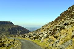 Chew valley country road. Above Dovestone reservoir in the Peak District National Park royalty free stock images