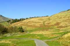 Chew valley footpaths. Above Dovestone reservoir in the Peak District National Park royalty free stock images