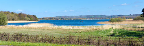 Chew Valley Lake and reservoir Somerset England panoramic view. Chew Valley Lake and reservoir Somerset England an important site for wildlife birdwatching Stock Photos
