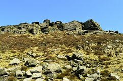 Chew valley summit. Above Dovestone reservoir in the Peak District National Park stock photography
