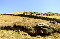 Chew valley summit. Above Dovestone reservoir in the Peak District National Park stock images