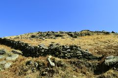 Chew valley summit. Above Dovestone reservoir in the Peak District National Park royalty free stock photo