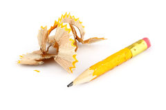 Chewed Pencil 3. Turned yellow tip of the pen on a white background Royalty Free Stock Photography