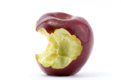 Chewed red apple. On isolated white background Stock Photography