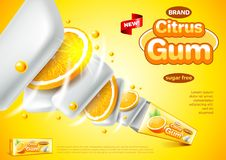 Chewing gum ads. Citrus pack explosion vector background. Chewing gum ads. Citrus pack explosion. 3d illustration and packaging Stock Image