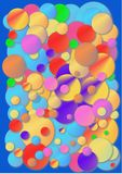 Chewing gum cover. Crazy colour bubbles on a blue background stock illustration