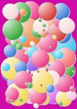 Chewing gum cover. Crazy colour bubbles on a pink background stock images