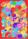 Chewing gum cover. Crazy colour bubbles on a red background royalty free illustration