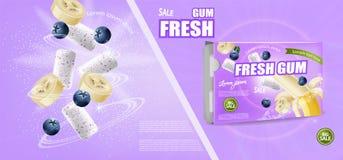 Chewing-gum faux vers le haut du vecteur réaliste Conception détaillée de label de placement de produit Banane et saveur de baies photographie stock