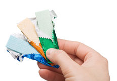 Chewing gum in hand stock photo