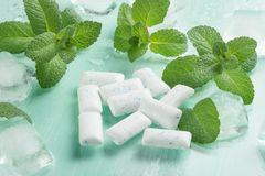 Chewing gum with mint and ice royalty free stock image