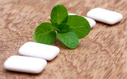 Chewing gum with mint leaves Stock Image