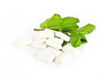 Chewing gum and mint Royalty Free Stock Photo
