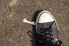 Chewing Gum and Shoe. Chewing gum stuck on the bottom of a shoe Royalty Free Stock Images