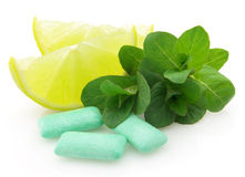 Chewing Gum With Lime And Mint Stock Image
