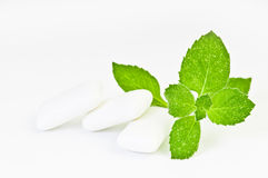Chewing gym and fresh leaves of mint. On a white background Stock Photos