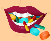 Chewing pills Stock Image