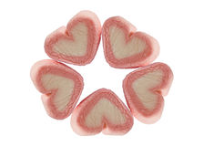 Chewing sticky candy of hearts Royalty Free Stock Photos