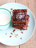 Chewy chocolate and coconut slice Royalty Free Stock Images